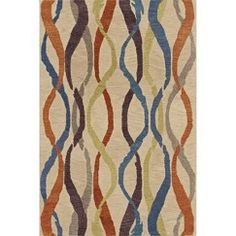 Multi-Colored Streamers Wool/Banana Viscose Accent Rug