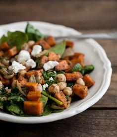 Zaatar Roasted Sweet Potato, Chickpea, and Spinach Salad
