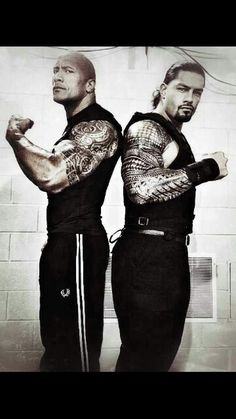 The Rock and his cousin Roman Reigns. They are also related to the Usos Jimmy and Jey Usos who's father is Rakisi.  The family dynasty of Samoan wrestlers
