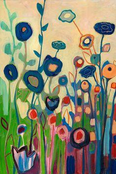 """Modern Abstract Garden, """"Meet Me In My Garden Dreams Part 1"""", 12 x 18 Fine Art Print by Jenlo"""