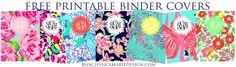 Lilly Monogram binder covers. DIY  I'm literally printing all of them now.