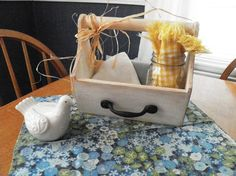 Shabby Chic wooden tote Cream distressed caddy by PillowtasticPlus, Sold