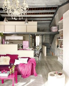 loft, pink, kitchen,