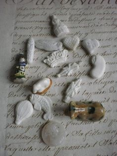 Adorable batch traditional vintage French feves favours New Years Gallette de Roi gateaux favors. simplychateau/shirley wells/etsy