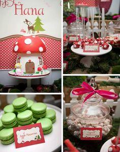 Woodland Party Inspiration by Bella Bella Studios ~ photo via Kara's Party Ideas website. #woodland #mushroom #pixie #fairy #cupcake #cake #party #birthday #woods #tree #kidsparty #eventplanner #bellabellastudios