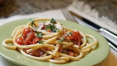 Bucatini with Bacon, Cherry Tomato and Spring Onion Sauce