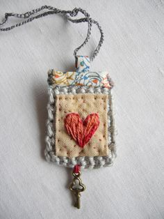 Embroidered heart, crochet, liberty fabric, necklace