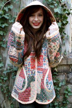 Vintage 70's PATCHWORK hippie BOHO hooded JACKET coat | Market Publique