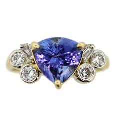 18K Yellow Gold, Tanzanite and Diamond Ring