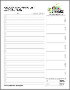 Print your Grocery List and Menu Planner