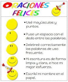 Oraciones felices -  recordatorios de la buena escritura.  En español (lectoescritura).