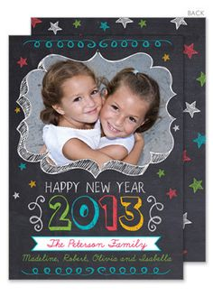 New Year Chalkboard Stars Photo Holiday Cards