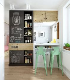 Chalkboard shelving and minty green stools