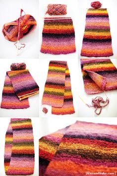 [ www.knitandbake.com ] Easy beginner's knitting pattern for garter stitch cowl ♥