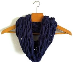 Hand knit chunky infinity scarf
