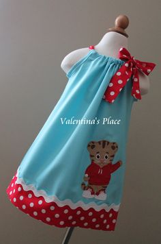 Juliana would die, she would probably try and eat it because she loves him so much  Super Cute Daniel Tiger pillowcase dress by Valentinasplace, $30.00