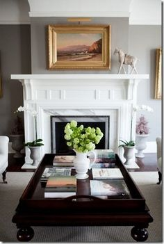 Love the gray walls with white trim <3