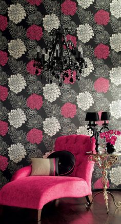 chair, chaise lounges, color schemes, color combos, black white, wallpapers, pink, bedroom, girl rooms