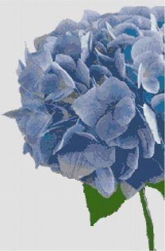 Blue Hydrangea Counted Cross Stitch Pattern via Etsy.