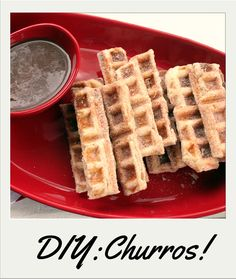3-Minute Churros with Mexican Hot #Chocolate Sauce (Hint: You make 'em in your waffle iron!) http://www.rachaelray.com/recipe.php?recipe_id=5914 #dessert #tasty dessert