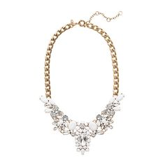 Crystal-encrusted collar necklace in white - JCrew