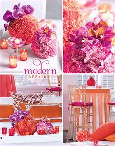 floral centerpieces, wedding receptions, orang, color schemes, wedding decorations, reception ideas, modern weddings, wedding centerpieces, bright colors