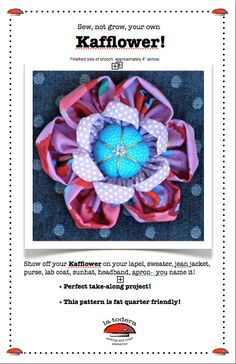 Kafflower Fabric Flower Brooch Pattern cover