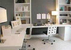 2 desk home office ideas - my home office idea office spaces, office desks, office designs, home office design, gray walls, home office furniture, white furniture, home offices, workspac
