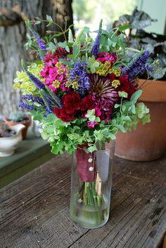 zinnia bouquets | August bridal bouquet: zinnia, scented geranium, flowering oregano ...