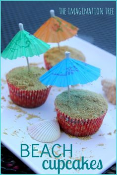 Beach themed cupcake recipe for summer fun!  would be a fun last day of school gift for teachers.