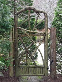 white gardens, interior, rustic gardens, garden gates, garden doors, natural wood, tree branches, rustic wood, design