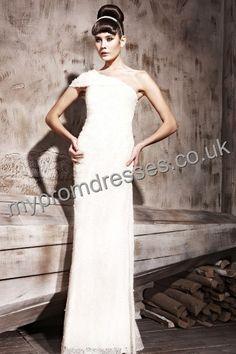 Floor length One-shoulder White Lace A-line Evening Dress Genoa-0060  http://www.mydresspro.co.uk/160-genoa-dress