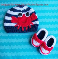 CRABBY Beanie AND BOOTIES  Newborn Size Please by NinisHandmades, $38.00