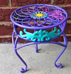 Purple Plant Stand /Colorful Accent Patio by AquaXpressions,   I need around 5 of these please!