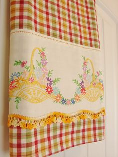 Recycled Vintage  to Upcycled Tea Towel With a Vintage Touch