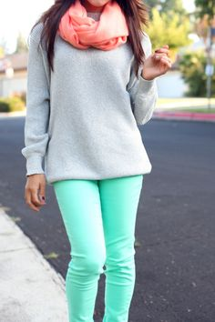 #coral and teal  fashion teen #2dayslook #new #teen #nice  www.2dayslook.com