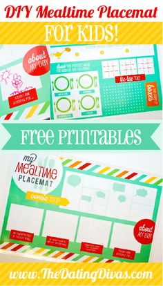 Placemats for the kids to draw about their day while I make dinner! Keep them occupied AND have something to talk about over dinner! Love this! www.TheDatingDivas.com