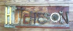 signs made from junk, recycl car, car part crafts, car parts crafts, junk sign