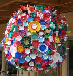 plastic cap, craftsreuseplast bottl, lid sphere, art project, plastic lid, lid art, recycl art, bottl cap, recycl materi