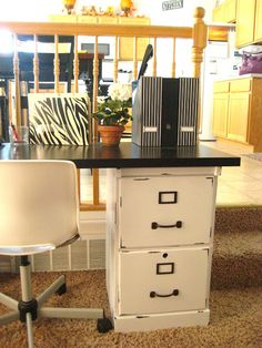 Turn two old filing cabinets into a desk! Genius! #diy