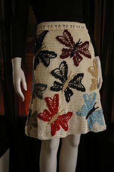 Falda de crochet con mariposas