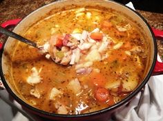 Tuscan Chicken Stew - a hearty country Italian chicken stew with white beans and red potatoes.
