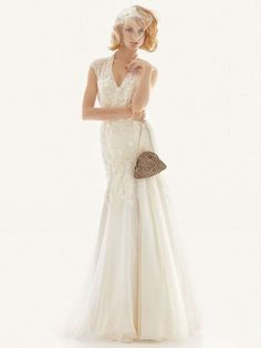 V neck vintage wedding dress!
