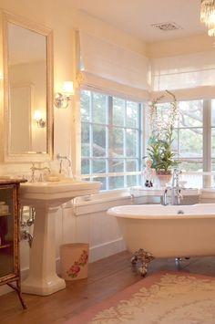decor, dream bathrooms, bathroom flooring, bathtub, clawfoot tubs, windows, white bathrooms, roman shades, window coverings