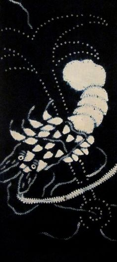 Prawn and anchor --cotton shibori panel from Daily Japanese Textile