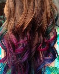 Dyed hair color - purple & blue & green & pink highlights / streaks / tips I might try this? Blue Green Highlights, Blue And Purple Hair Tips, Blue Hair, Colored Hair Highlights Purple, Hair Colors Purple, Brown Hair, Blue And Pink Hair Streaks, Pink Highlight, Blues