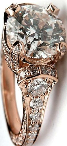 Beautifully Crafted Large Round Diamond Cathedral Graduated pave Engagement Ring 1.25 tcw. In 14K Rose Gold| LBV ♥✤