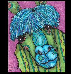 whimsical, colorful animals by Cindy of The Slumbering Herd.