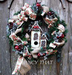 FOR THE BIRDS Christmas Birdhouse Wreath by FancyThatDecor on Etsy