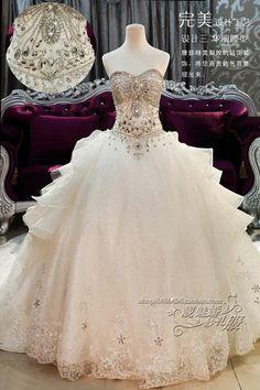 Sparkling corset wedding dress. Gorgeous! Bridal Dress, Wedding Dressses, Balls, Ball Gowns, Crystal Ball, Dream, Corset, Train, Swarovski Crystals